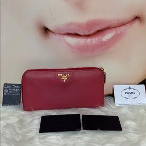 Prada Peony color long zippy wallet